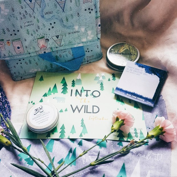 A Sass and Belle lunchbox with a scout-like pattern, a Cabeswater candle, a massage bar in a tin, a headscarf patterned with pine trees, and post-it notes from Dear Evan Hansen
