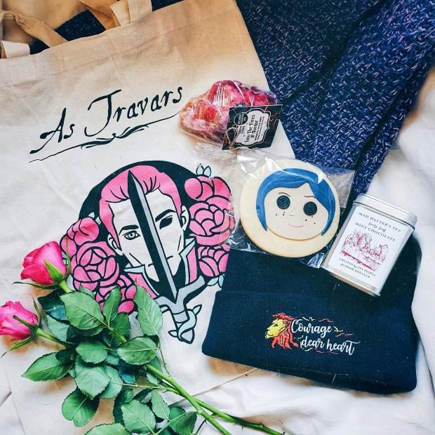 The Coraline biscuit, Narnia beanie, mint tea, sparkly soap, and ADSOM tote bag