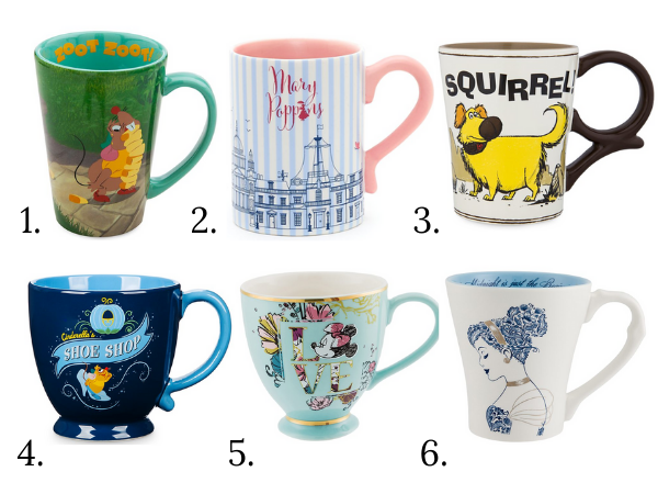 six mugs from the UK Shop Disney range: three Cinderella themed, a Mary Poppins mug, a Minnie Mouse teacup, and a mug featuring Dug